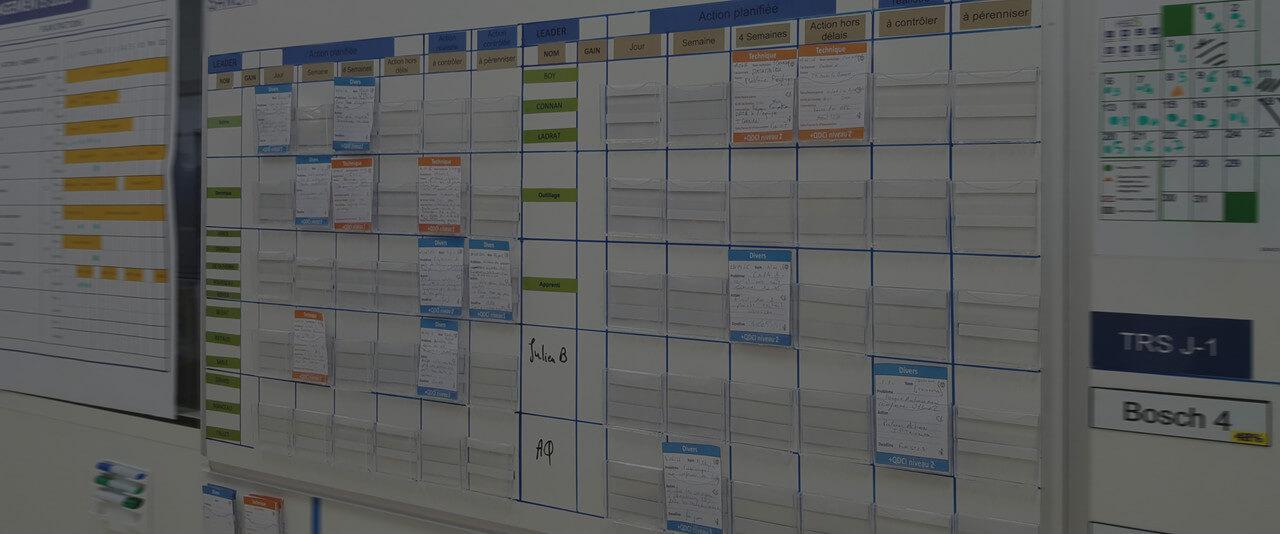 Tableau d'affichage pour management visuel, méthode lean